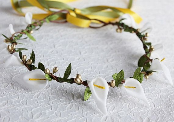 Woodland Calla Lily Crown Bridal Halo Girl Floral by HandyCraftTS, $28.00