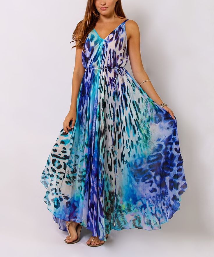 Blue Animal Tie-Waist Maxi Dress |Zulily | Clothes and ...