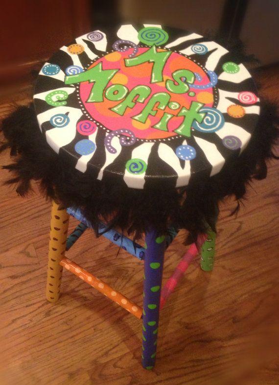 Custom Painted Stool Teacher Library Office Bar Stool Whimsy on Etsy, $99.00