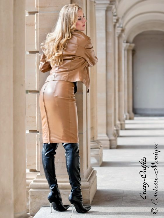 leather skirt and jacket tricia