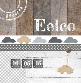 Geboortekaartje Eelco | Blijkaartje.nl Hout, auto's, jongen, stoer