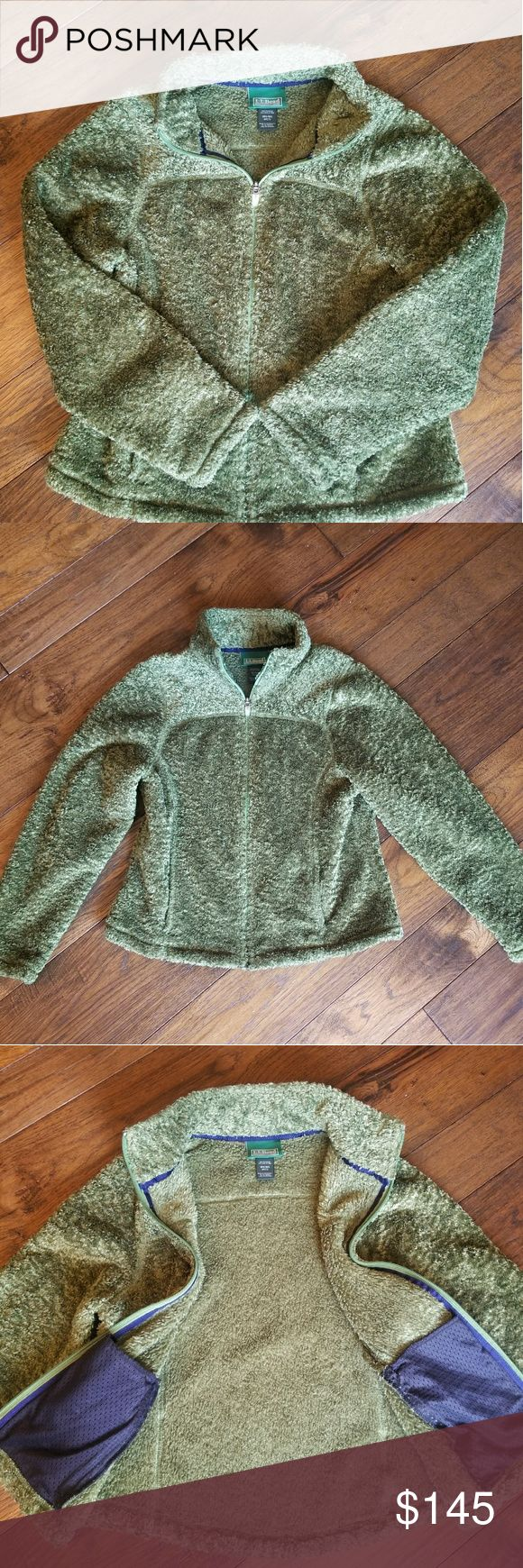 L.L. Bean green plush zip up jacket with pockets L.L. Bean green plush zip up jacket with pockets. Size Misses Regular. Equivalent tina women's Medium. Pristine condition. Like BRAND NEW WITHOUT TAGS. Super soft,  plush and cushy. Has navy accent inside pockets. L.L. Bean Jackets & Coats