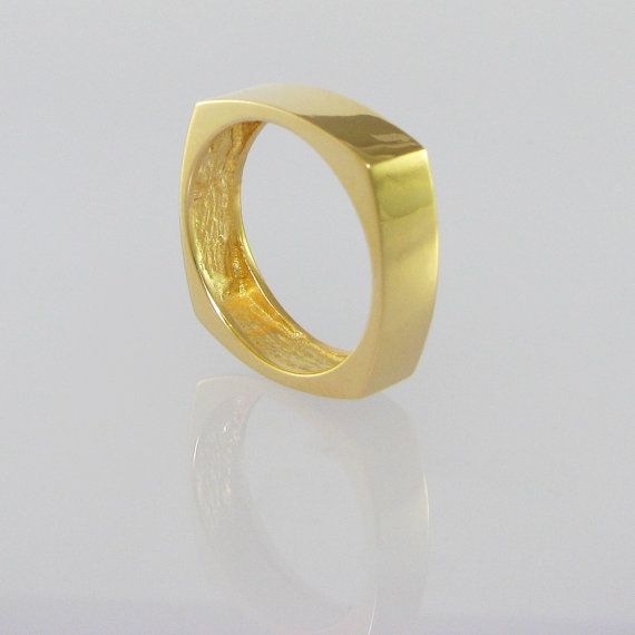 FUNKY SQUARE Unique Wedding Ring, 14K Gold Jewelry, Gold Band, Designer Jewelry