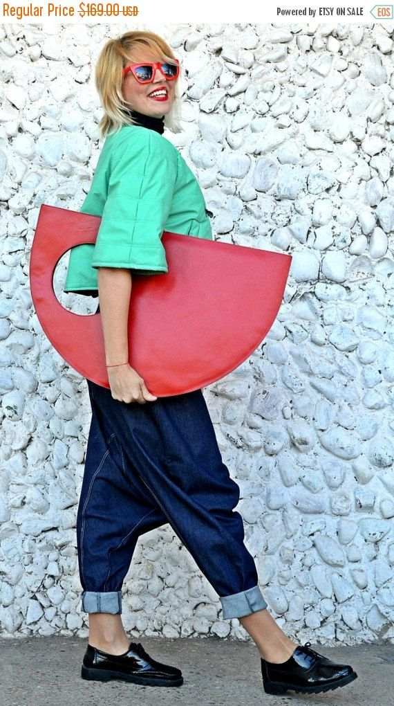ON SALE 20% OFF Red Genuine Leather Bag / Red Extravagant Tote / Extravagant Handbag / Red Funky Bag Tlb12 / Urban Muse