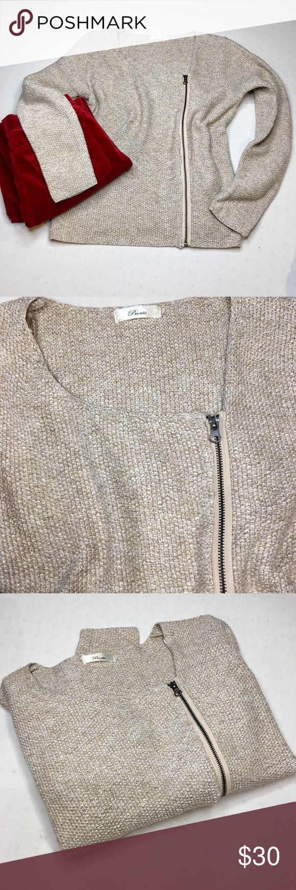 "NWOT Pronto beige sparkle zip up sweater This sweater is a must have for the holidays. wear with some red pants for your Christmas outfit. Excellent condition no flaws. Size medium. Bust 40"" length 24"". 80% polyester 10% Nylon 10% lurex. NWOT Pronto Sweaters Crew & Scoop Necks"