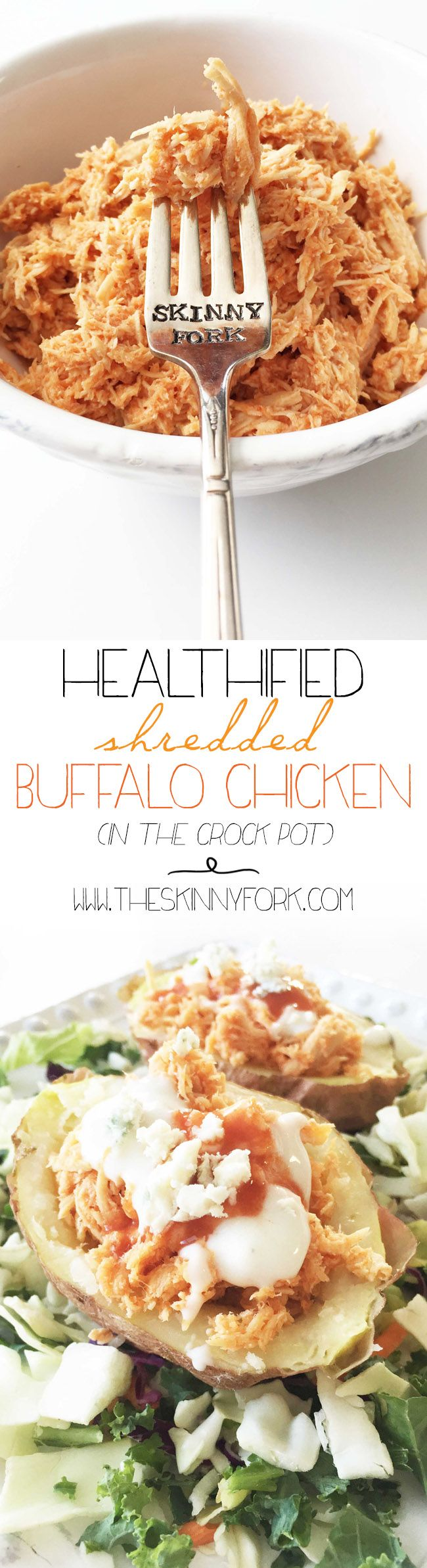 Healthified Shredded Buffalo Chicken (Crock Pot) - Spicy buffalo style pulled chicken to make and use in many ways!