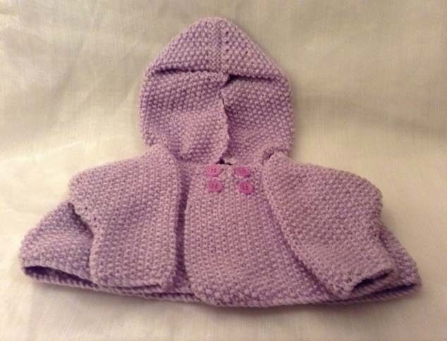 Knitted Wool New-Born Hooded Cardigan  £10.00