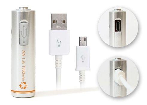 USBで充電できる電池