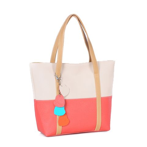 White Sweet Women's Shoulder Bag With Color Block and Pendant Design, $23.90