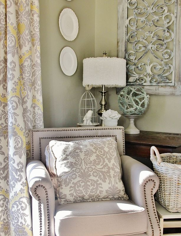 Curtains in soft yellow & grey. fabric to use: Bedazzle in Silver Lining by @Elena Kovyrzina S http://www.tonicliving.com/Bedazzle-Silver-Lining-P2347.aspx #tonicliving www.tonicliving.com