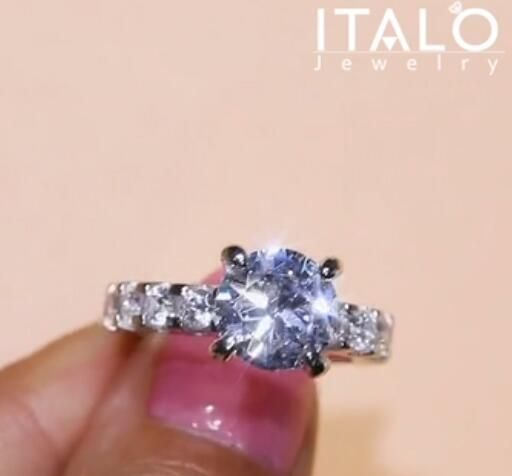 59adc90c321a7 Italo Classic Round Created White Sapphire Engagement Ring   ITALO ...