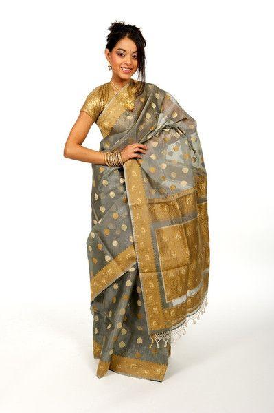 Rich Grey and Gold Bonanza Sari | Saris and Things