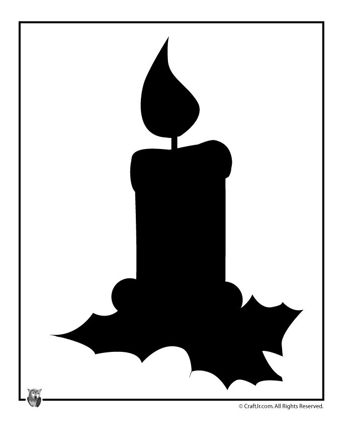 Printable Christmas Templates, Shapes and Silhouettes Holiday Candle Silhouette – Craft Jr.