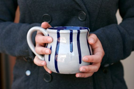 $29.95 Cobalt and Gray Drip Mug - Large Potter's Mug Coffee Or Tea Winter Gift - Hand Painted -  Made To Order