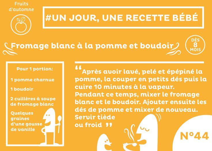 #recette #bébé du jour #44 #plat #dès8mois : Fromage blanc à la pomme et boudoir