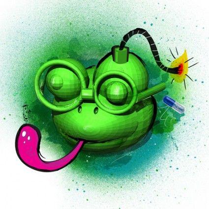 Bomb Lab Frog Wood Print - Garabato