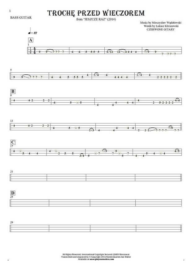 Trochę przed wieczorem - Czerwone Gitary. From album Jeszcze raz (2014). Part: Tablature for bass guitar