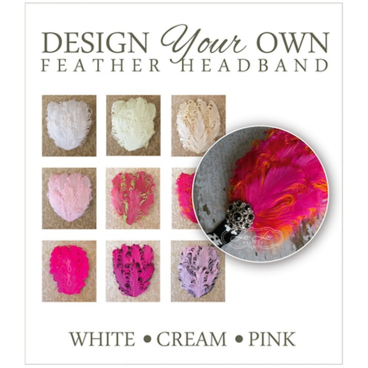 Design Your Own! ~ Feather Headband (white, cream and pinks)