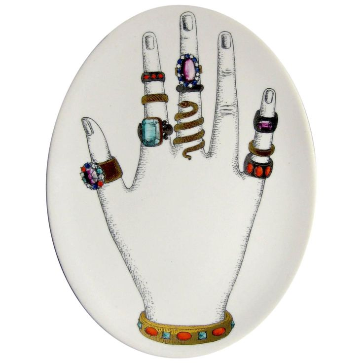 Vintage Piero Fornasetti Dish with Hand and Rings | From a unique collection of antique and modern porcelain at https://www.1stdibs.com/furniture/dining-entertaining/porcelain/
