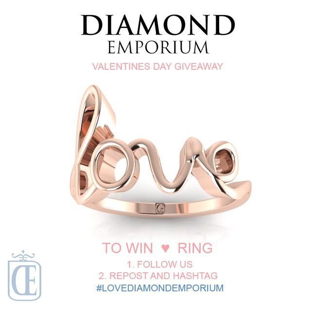 Valentine's Day Giveaway! Follow @diamondemporium on Instagram & Facebook page, repost and hashtag #lovediamondemporium for your chance to win this beautiful 18k rose gold Love Ring (RRP $650). One lucky winner will be drawn on 14th February 2015. Get posting!