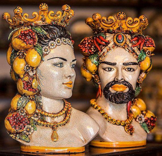 Beautiful Italian ceramic Head planters