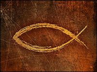 "The Greek word for fish is, ""ICHTHUS"""". I=Iesous (Jesus); CH=Christos (Christ); TH=Theous (God); U=Uios (Son); S=Soter (Savior). Christians are also, ""fishers of men."""