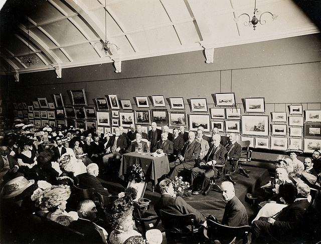 Mitchell Library, opening ceremony, 8th March, 1910, by unknown photographer.    The Mitchell Library was officially opened on 8 March 1910, and opened to the public the next day, 9 March.     Find more detailed information about this photograph: http://acms.sl.nsw.gov.au/item/itemDetailPaged.aspx?itemID=845413    From the collection of the State Library of New South Wales: http://www.sl.nsw.gov.au