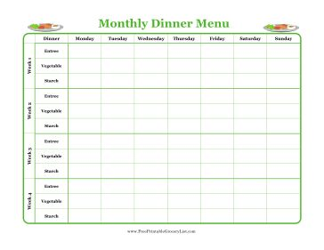 Plan all your dinners for a month by entree, vegetable and starch with this printable green menu planner. Free to download and print