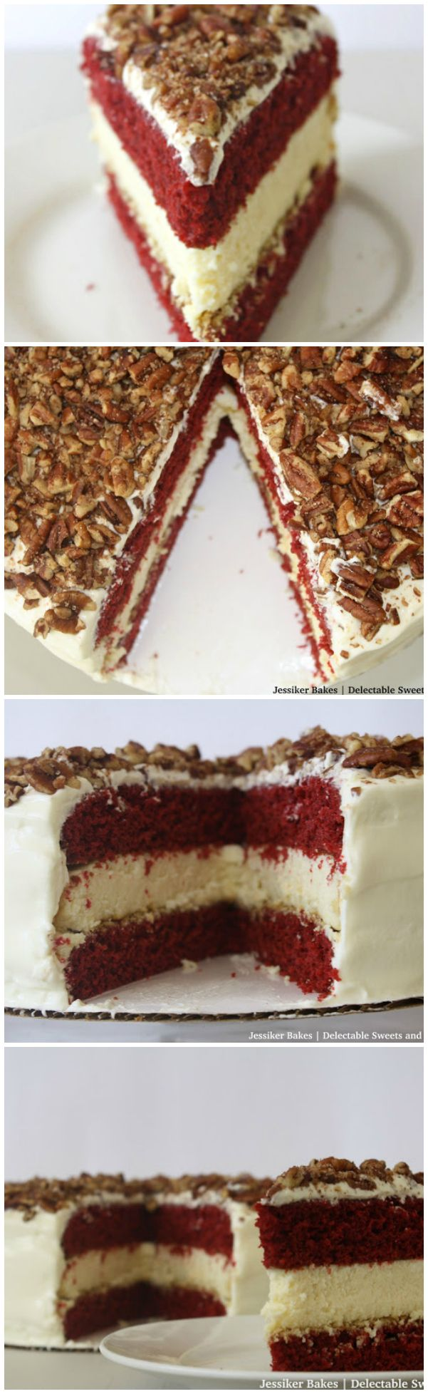 Thick delicious cheesecake is layered between moist decadent slices of Red Velvet Cake. Cream cheese frosting is on the outside of this delicious cake!