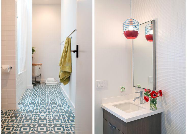 San Francisco Interior Design company Regan Baker Design - Glen Park Spanish Modern Kids Bathroom, Cement Tile Pattern Floor, Midcentury Modern, Pop of Color Roll and Hill Vanity Pendant