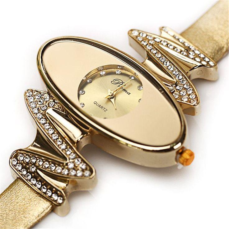 Fashion Waterproof Retro Gold Women's Quartz Watches Diamond Oval Dial Leather Lady Dress Wristwatches Relogio Feminino Clock $29.97   #sweet #beautiful #instafashion #love #swag #instalike #pretty #cute #dress #model #style #cool #styles #iwant #stylish