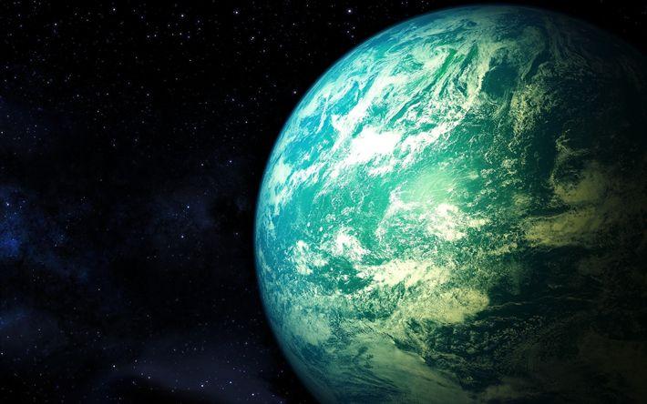 Lataa kuva sininen planeetta, galaxy, tähdet, planeetat