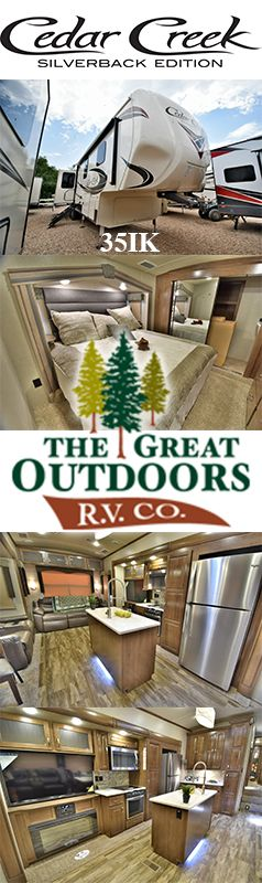 Come and enjoy the outdoor living in this Cedar Creek Silverback 35IK. Surround yourself in luxury with rich interior, cathedral ceiling slide out, free standing table and chairs, entertainment center with fireplace, wireless rear camera system and automatic 6 point level-up. https://www.thegreatoutdoorsrv.com/cedar-creek/35ik