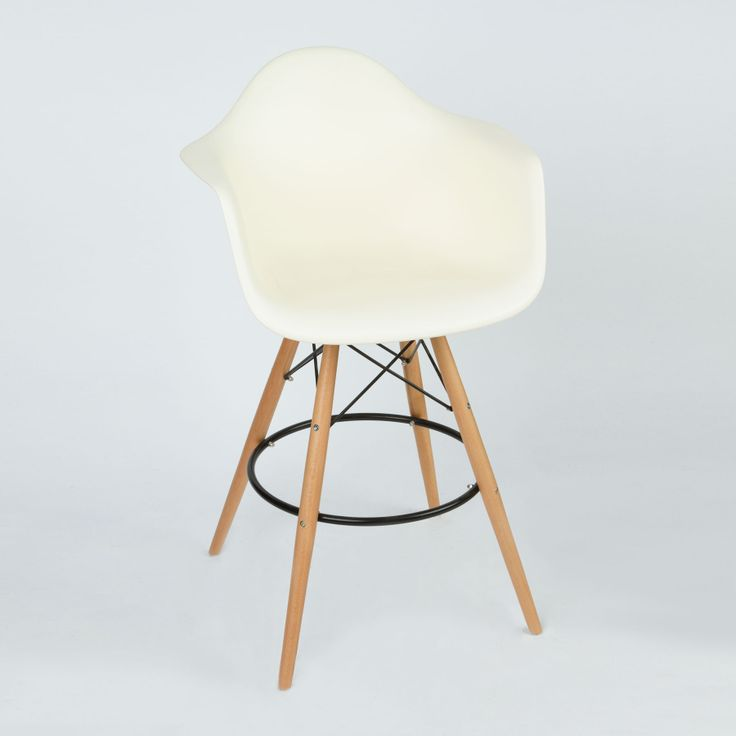 Barstool Arm Chair in Cream | dotandbo.com