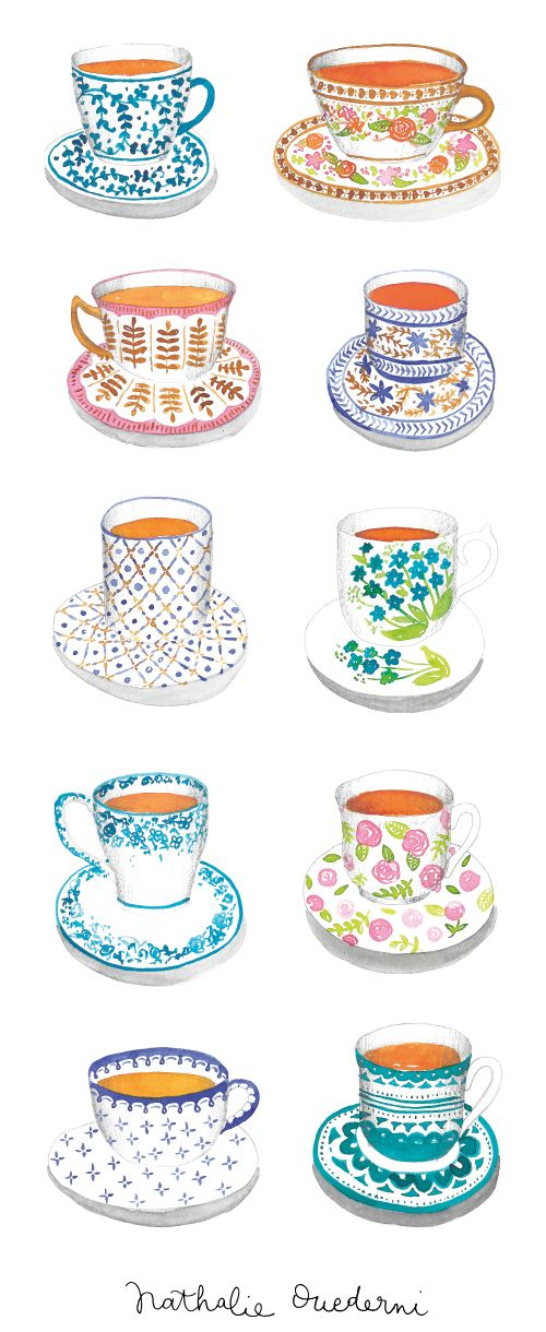 tea-cups-watercolor-illustrations by Nathalie Ouederni | www.studiokalumi.com