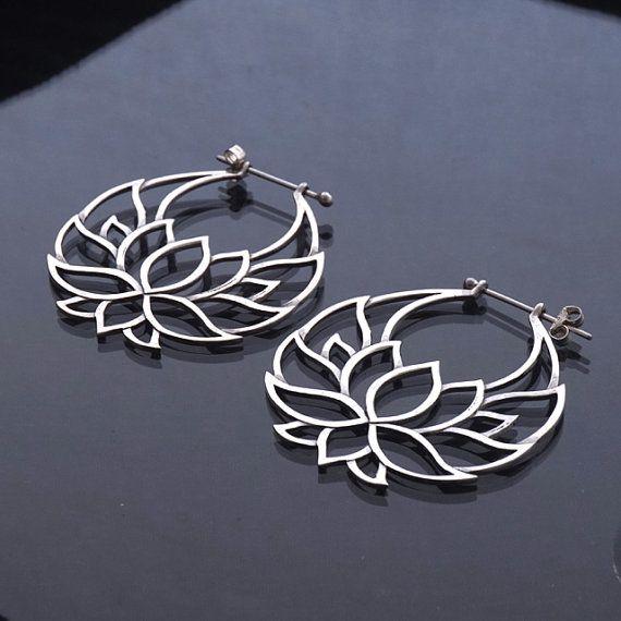 Lotus Flower Hoop Earrings  silver   Shanti Hoops  by Zephyr9