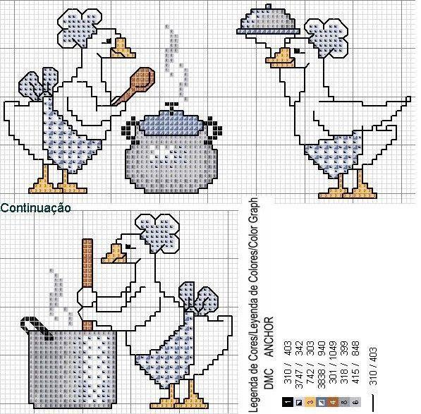 Cross-stitch Geese Cooking...    Gallinita en punto de cruz