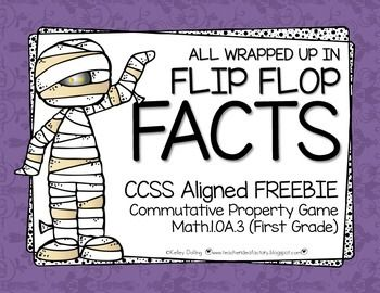 """Here's a fun Halloween-flavored freebie that helps kids """"see"""" the Commutative Property of addition in action.  Kids manipulate dominos to create flip flop facts.  This game is perfect for introducing addition in any order to 1st graders.  They are going to love the mummy theme too :)**If you like this activity, be sure to check out my October Math Stations + More Packet."""