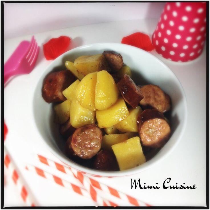 Saucisses fumées et ses pommes de terre sauce carré frais ...