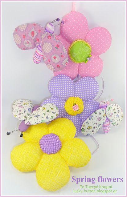 Fabric flowers, fabric bug, Η άνοιξη και τα αγαπημένα φτερωτά της!