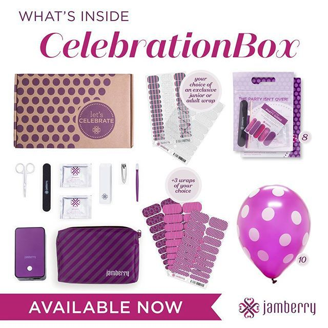 CelebrationBox is finally here! Everything you need to turn any celebration into an AWESOME manicure party is right inside! Perfect for birthdays, Moms' night out, bachlorette parties, and more! Order yours today! (Link in bio.) #Jamberry #CelebrationBoxJN #CelebrationBox #PartyNails #ManicureParty #WeddingNails #BridesmaidsNails #BirthdayMani #BirthdayManicure #BirthdayNails #MomsNight #MommyMani #MommyManicure #PartyInABox