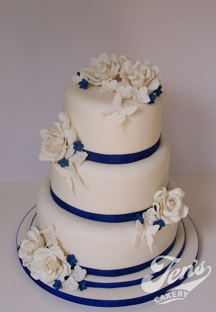 Ivory And Royal Blue Wedding Cake Flickr Photo Sharing