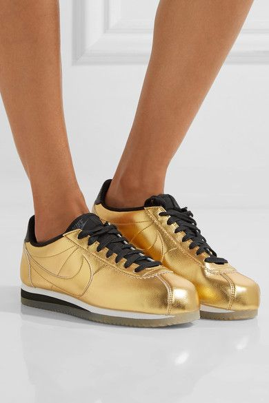 Nike - Classic Cortez Metallic Leather Sneakers - Gold - US5.5