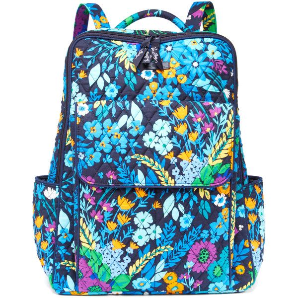 Vera Bradley Midnight Blues Ultimate Backpack ($45) ❤ liked on Polyvore featuring bags, backpacks, vera bradley backpack, pocket backpack, zip bag, backpack bags and blue backpack