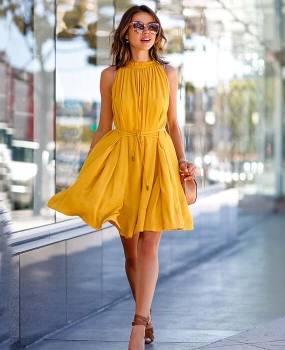 Casual Sleeveless Yellow Short Mini Dress