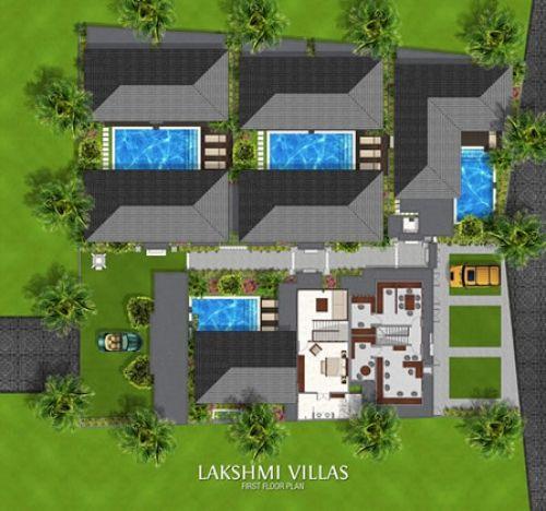 Lakshmi Villas Seminyak - Plan of First Floor http://prestigebalivillas.com/bali_villas/lakshmi_villas/5/reservation_and_rate/