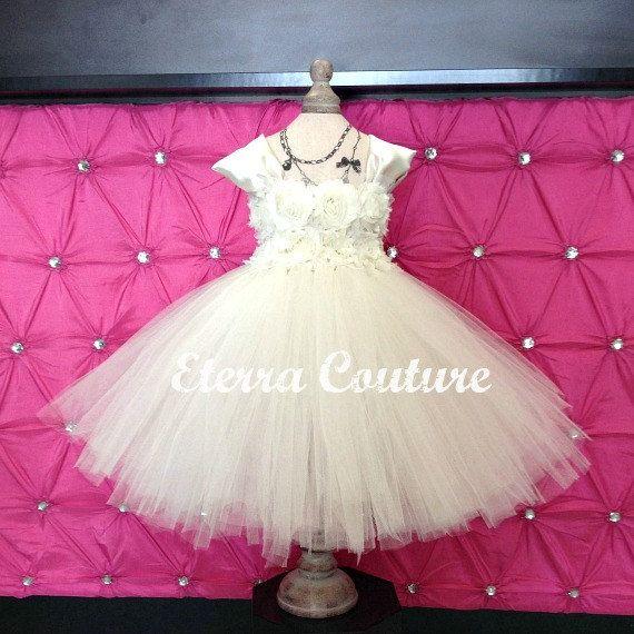Couture Flower Girl Dress Vintage Chiffon Tulle Junior Bridesmaid Baptism Christening Birthday