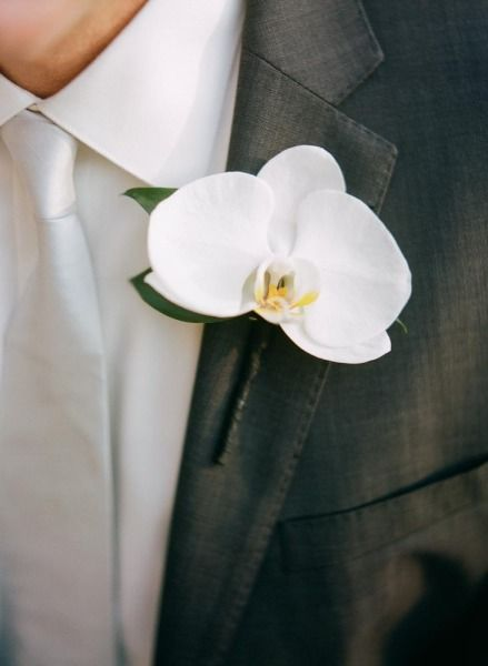 white orchid boutonniere - Backyard Austin Wedding from Q Weddings