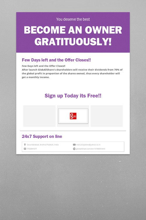 Become an owner Gratituously! GlobAllShare