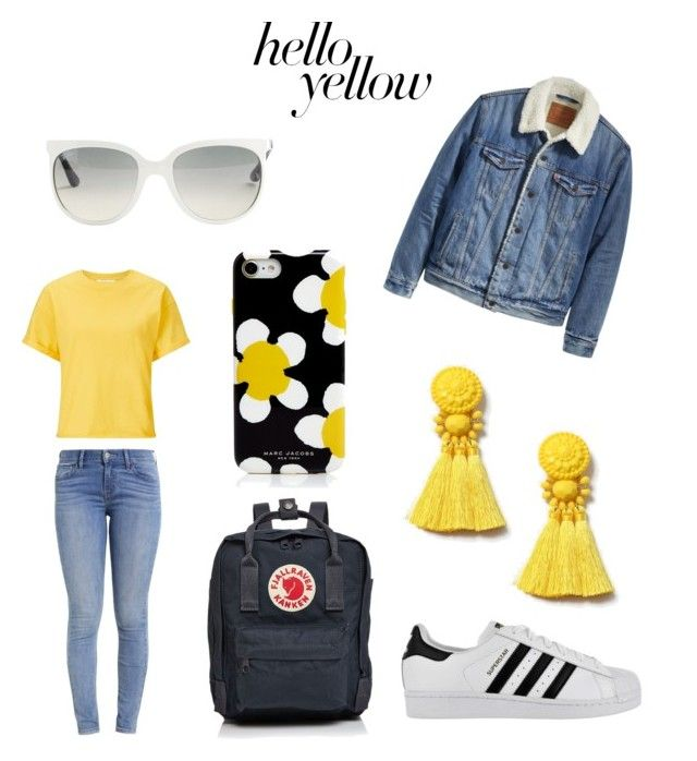 """Hello yellow"" by kaoutar-rayour on Polyvore featuring Miss Selfridge, Levi's, adidas, Fjällräven, Topshop, Marc Jacobs, Ray-Ban and yellow"